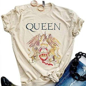Queen White Retro Graphic Band T-Shirt
